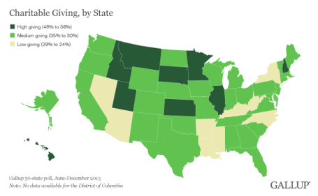 map of U.S. colored by giving