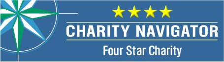 charity navigator logo with compass and four yellow stars