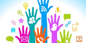 hands with social media icons