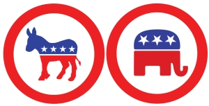 democrat party donkey and gop party elephant