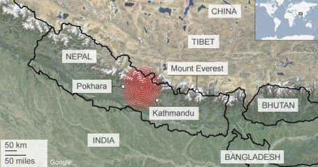 map of where Nepal earthquake occured