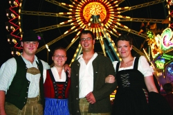 A group of four German Oktoberfest fans