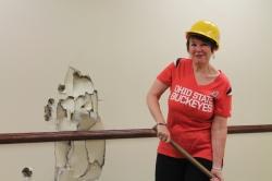 karen holds sledge hammer