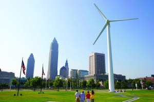 Ohio, Cleveland, wind driven power generator, downtown skyline, Key Tower,